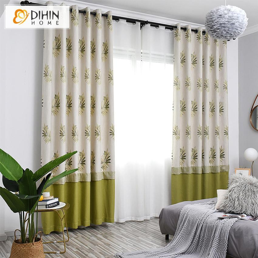 DIHINHOME Home Textile Pastoral Curtain DIHIN HOME Garden Cotton Linen Printed Curtains,Blackout Grommet Window Curtain for Living Room ,52x63-inch,1 Panel