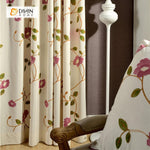 DIHINHOME Home Textile Pastoral Curtain DIHIN HOME Garden Embroidered Curtain ,Cotton Linen ,Blackout Grommet Window Curtain for Living Room ,52x63-inch,1 Panel