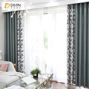 DIHIN HOME Garden Leaf Printed Curtains,Blackout Grommet Window Curtain for  Living Room ,52x63-inch,1 Panel