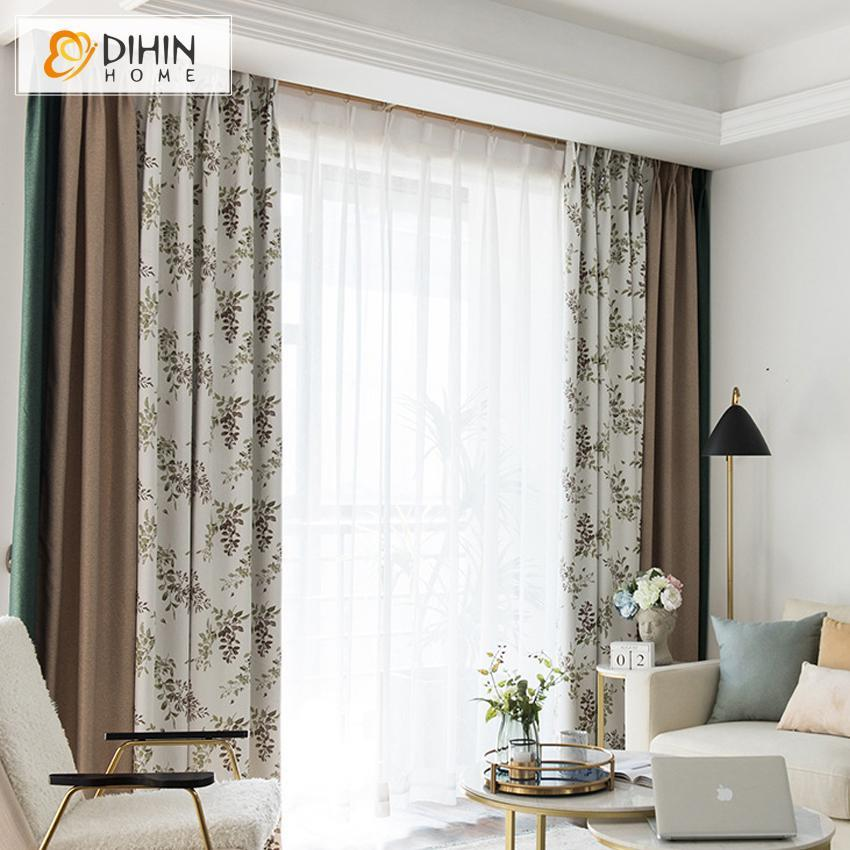 DIHINHOME Home Textile Pastoral Curtain DIHIN HOME Garden Leaves Printed Spliced Curtains,Blackout Grommet Window Curtain for Living Room ,52x63-inch,1 Panel