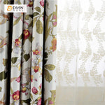 DIHINHOME Home Textile Pastoral Curtain DIHIN HOME Gorgeous Flowers Printed ,Blackout Grommet Window Curtain for Living Room ,52x63-inch,1 Panel