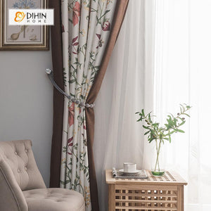 DIHINHOME Home Textile Pastoral Curtain DIHIN HOME Gorgeous Flowers Printed,Blackout Grommet Window Curtain for Living Room ,52x63-inch,1 Panel