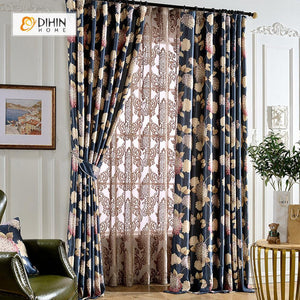 DIHINHOME Home Textile Pastoral Curtain DIHIN HOME Grape Printed  ,Blackout Grommet Window Curtain for Living Room ,52x63-inch,1 Panel