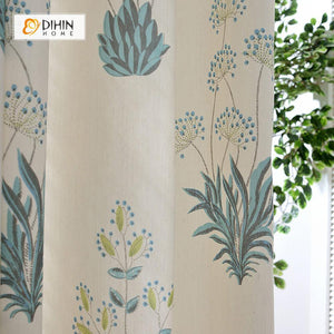 DIHINHOME Home Textile Pastoral Curtain DIHIN HOME Grass Printed Curtain ,Cotton Linen ,Blackout Grommet Window Curtain for Living Room ,52x63-inch,1 Panel