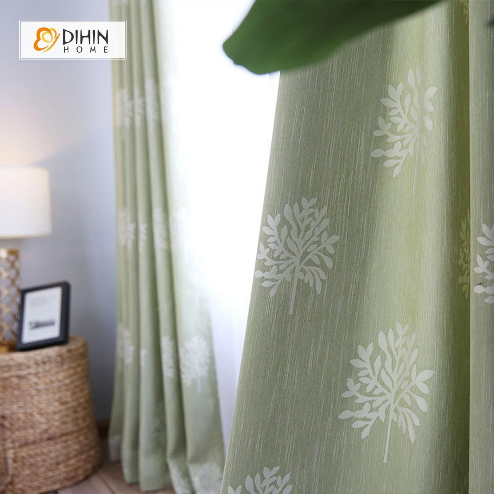 DIHINHOME Home Textile Pastoral Curtain DIHIN HOME Green Background, White Tree Embroidered,Blackout Grommet Window Curtain for Living Room ,52x63-inch,1 Panel