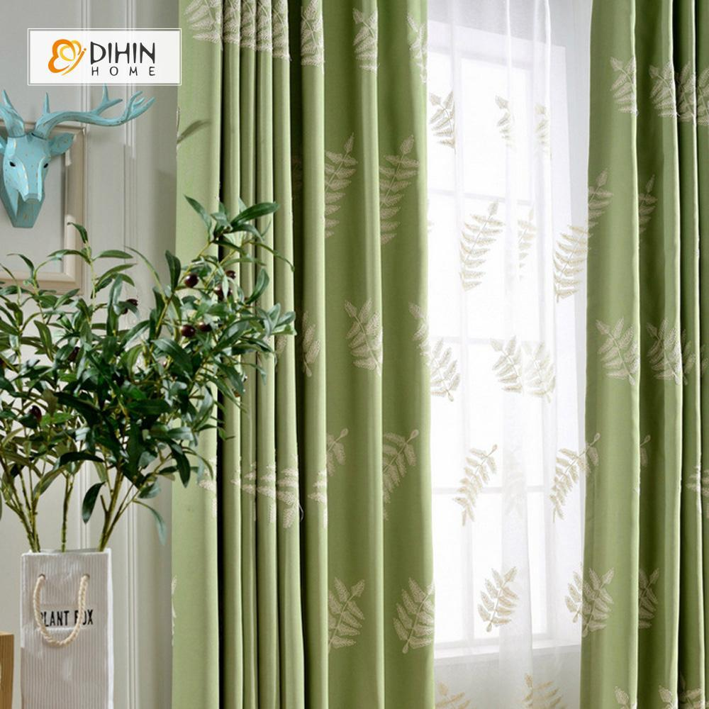 DIHINHOME Home Textile Pastoral Curtain DIHIN HOME Green Backround White Leaves Embroidered ,Blackout Grommet Window Curtain for Living Room ,52x63-inch,1 Panel