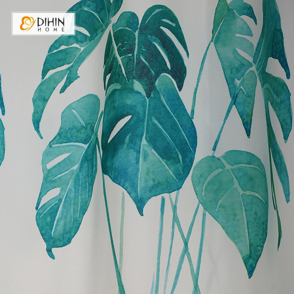 DIHIN HOME Green Leaves and Words Printed,Blackout Grommet Window Curtain for Living Room ,52x63-inch,1 Panel