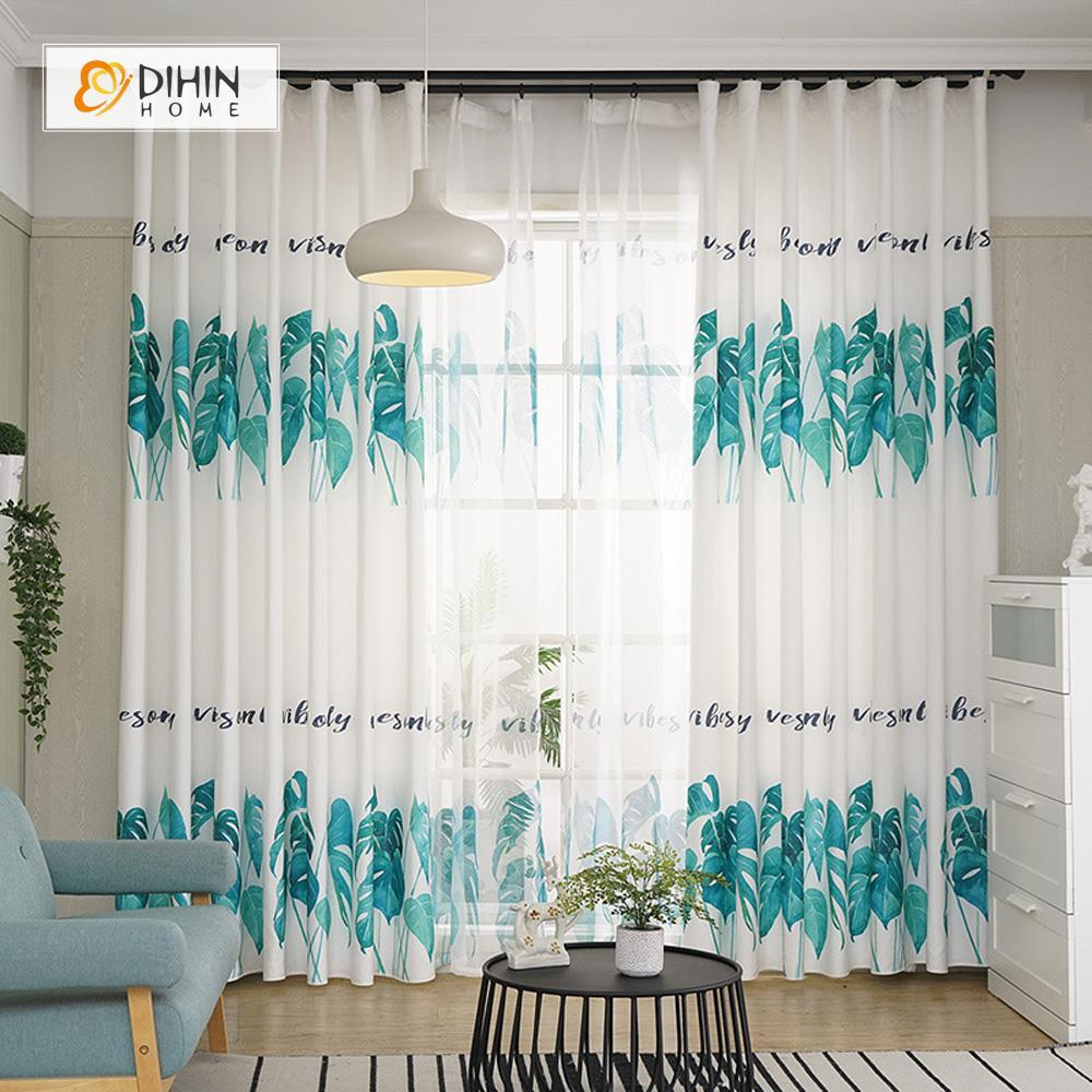 DIHINHOME Home Textile Pastoral Curtain DIHIN HOME Green Leaves and Words Printed,Blackout Grommet Window Curtain for Living Room ,52x63-inch,1 Panel