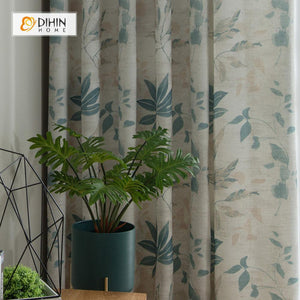 DIHINHOME Home Textile Pastoral Curtain DIHIN HOME Green Leaves Printed curtain,Blackout Grommet Window Curtain for Living Room ,52x63-inch,1 Panel