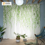DIHINHOME Home Textile Pastoral Curtain DIHIN HOME Green Rattan Printed ,Polyester ,Blackout Grommet Window Curtain for Living Room ,52x63-inch,1 Panel