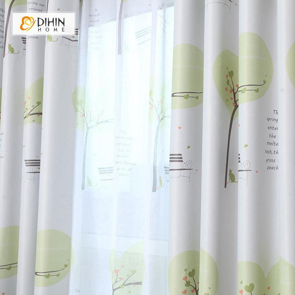 DIHINHOME Home Textile Pastoral Curtain DIHIN HOME Green Tree and Bench Printed,Blackout Grommet Window Curtain for Living Room ,52x63-inch,1 Panel