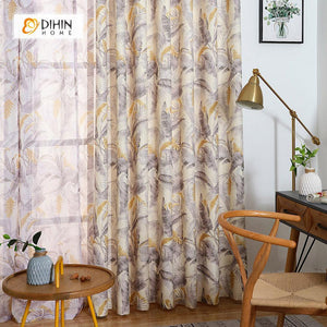 DIHINHOME Home Textile Pastoral Curtain DIHIN HOME Grey and Yellow Leaves Printed,Blackout Grommet Window Curtain for Living Room ,52x63-inch,1 Panel