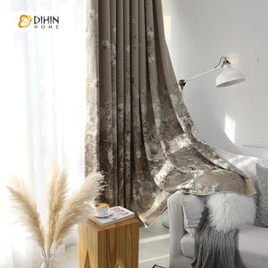 DIHINHOME Home Textile Pastoral Curtain DIHIN HOME Grey Flowers Printed,Blackout Grommet Window Curtain for Living Room ,52x63-inch,1 Panel
