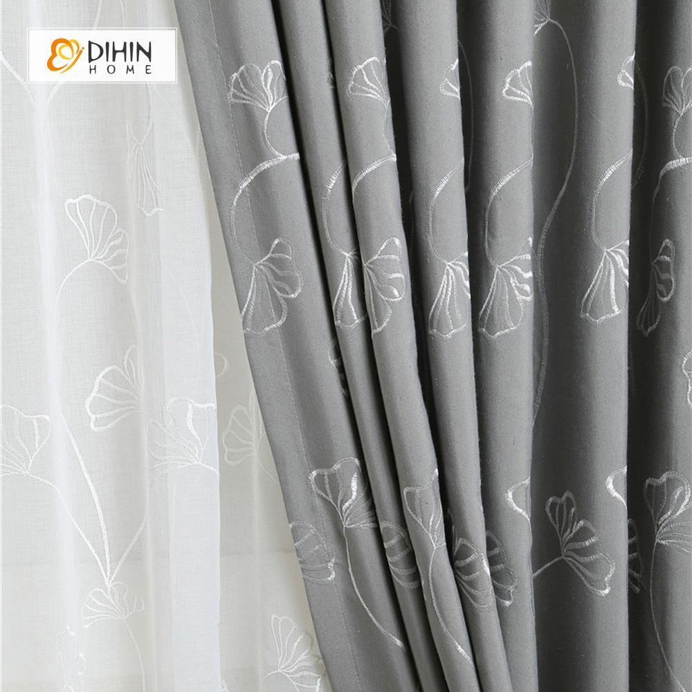DIHINHOME Home Textile Pastoral Curtain DIHIN HOME Grey Ginkgo Flower Embroidered Curtain ,Cotton Linen ,Blackout Grommet Window Curtain for Living Room ,52x63-inch,1 Panel