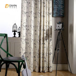DIHINHOME Home Textile Pastoral Curtain DIHIN HOME Grey Leaf Embroidered Curtain ,Cotton Linen ,Blackout Grommet Window Curtain for Living Room ,52x63-inch,1 Panel