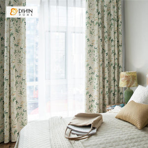 DIHINHOME Home Textile Pastoral Curtain DIHIN HOME High Quality Thickness Leaf Printed Curtains ,Cotton Linen ,Blackout Grommet Window Curtain for Living Room ,52x63-inch,1 Panel