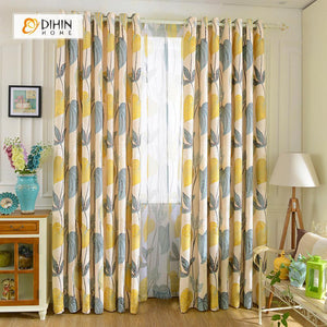 DIHINHOME Home Textile Pastoral Curtain DIHIN HOME Huge Leaves Printed,Blackout Grommet Window Curtain for Living Room ,52x63-inch,1 Panel