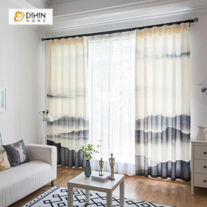 DIHINHOME Home Textile Pastoral Curtain DIHIN HOME Ink and Wash Printed,Blackout Grommet Window Curtain for Living Room ,52x63-inch,1 Panel