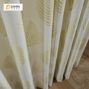 DIHINHOME Home Textile Pastoral Curtain DIHIN HOME Jacquard Leaves,Cotton Linen ,Blackout Grommet Window Curtain for Living Room ,52x63-inch,1 Panel