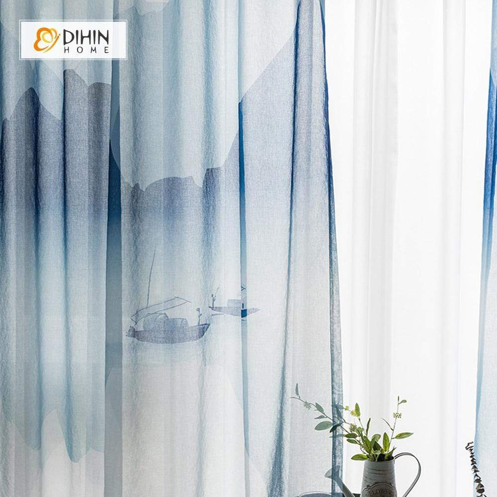 DIHINHOME Home Textile Pastoral Curtain DIHIN HOME Landscape Painting Printed,Blackout Grommet Window Curtain for Living Room ,52x63-inch,1 Panel