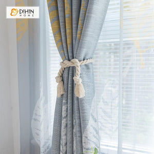 DIHINHOME Home Textile Pastoral Curtain DIHIN HOME Large Leaves Printed ,Polyester ,Blackout Grommet Window Curtain for Living Room ,52x63-inch,1 Panel