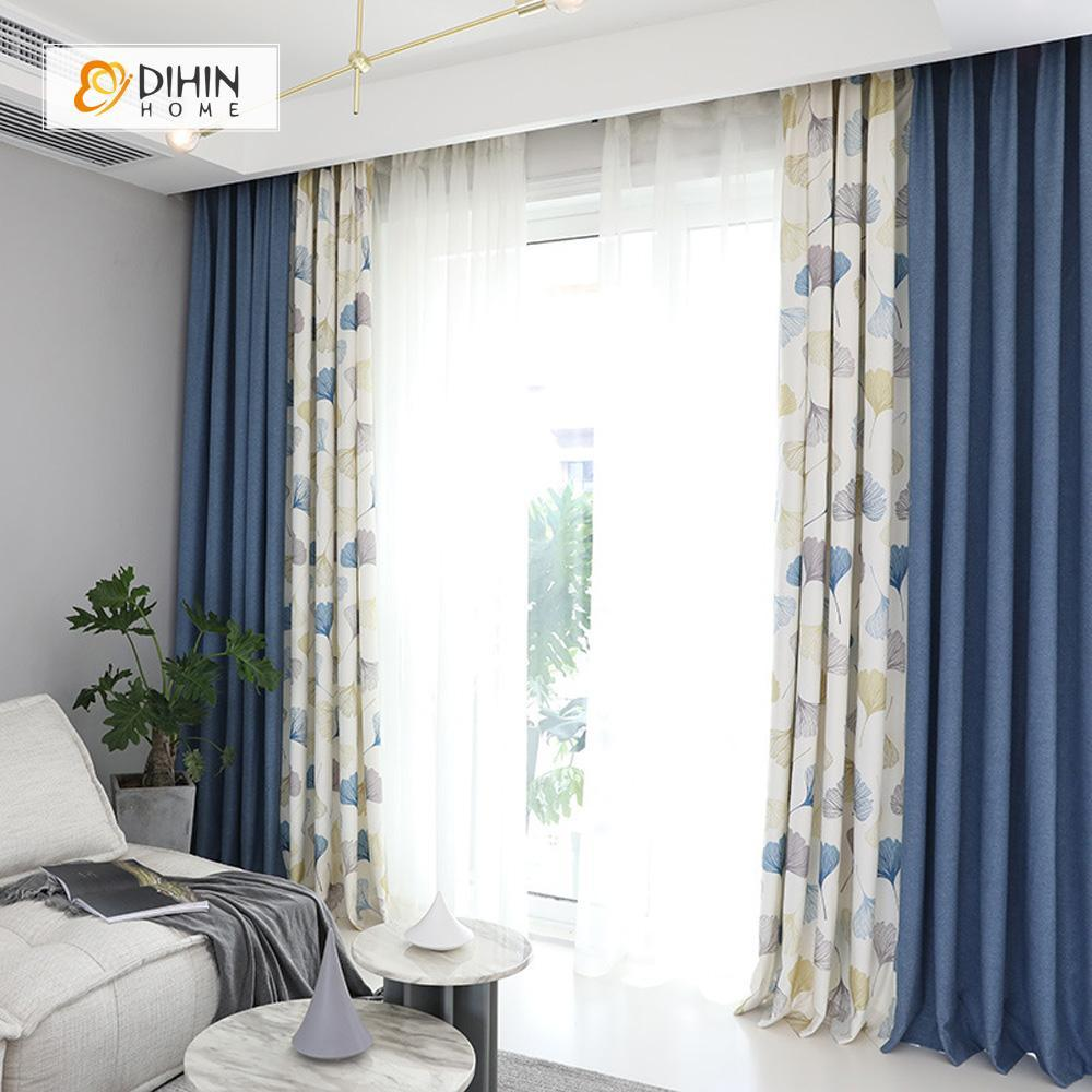 DIHINHOME Home Textile Pastoral Curtain DIHIN HOME Leaves and Blue Printed,Blackout Grommet Window Curtain for Living Room ,52x63-inch,1 Panel