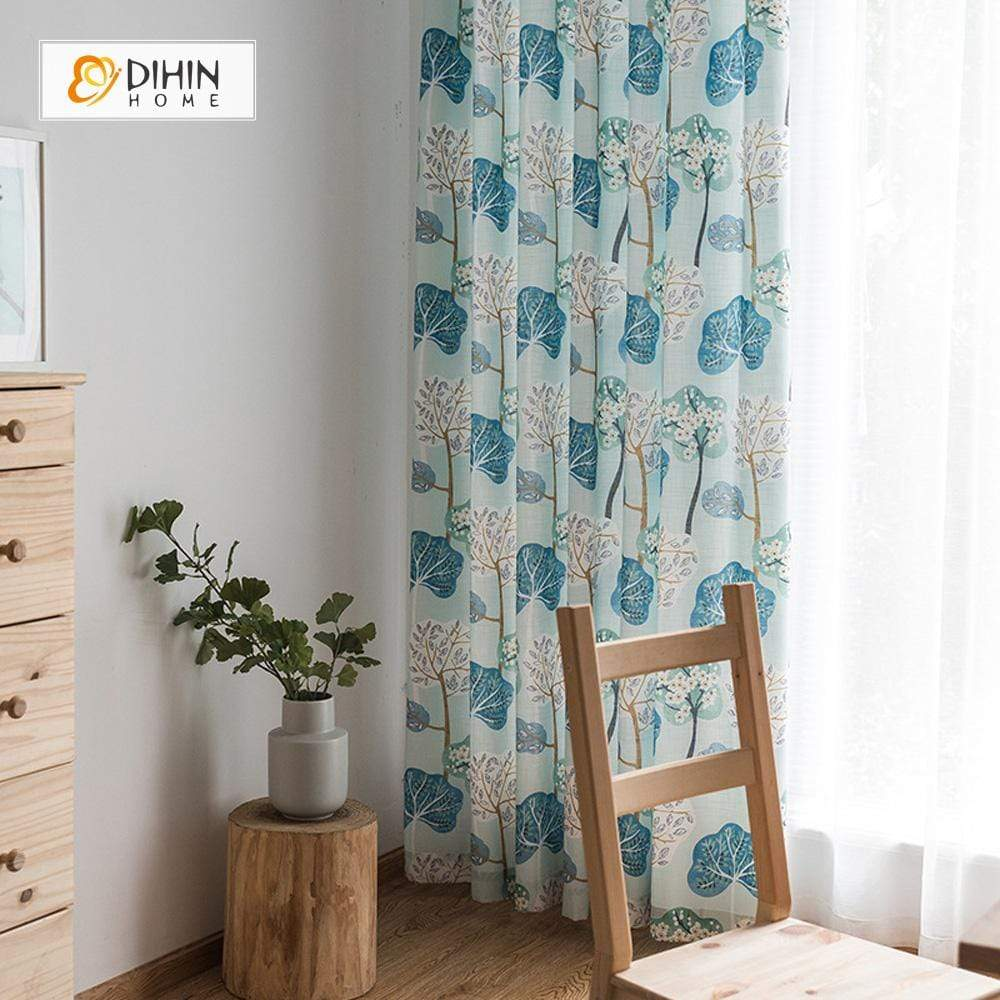 DIHINHOME Home Textile Pastoral Curtain DIHIN HOME Lotus Leaves Printed,Blackout Grommet Window Curtain for Living Room ,52x63-inch,1 Panel