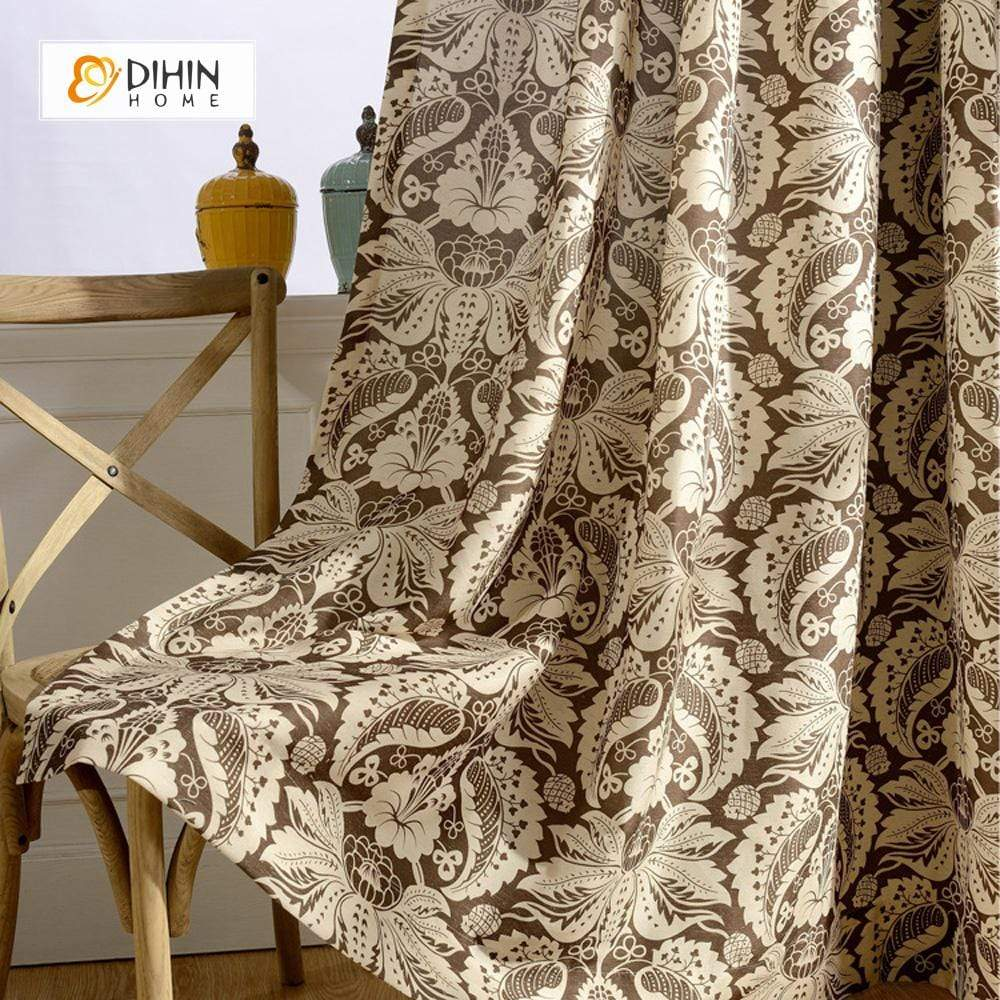 DIHINHOME Home Textile Pastoral Curtain DIHIN HOME Luxury Jacquard Printed ,Cotton Linen ,Blackout Grommet Window Curtain for Living Room ,52x63-inch,1 Panel