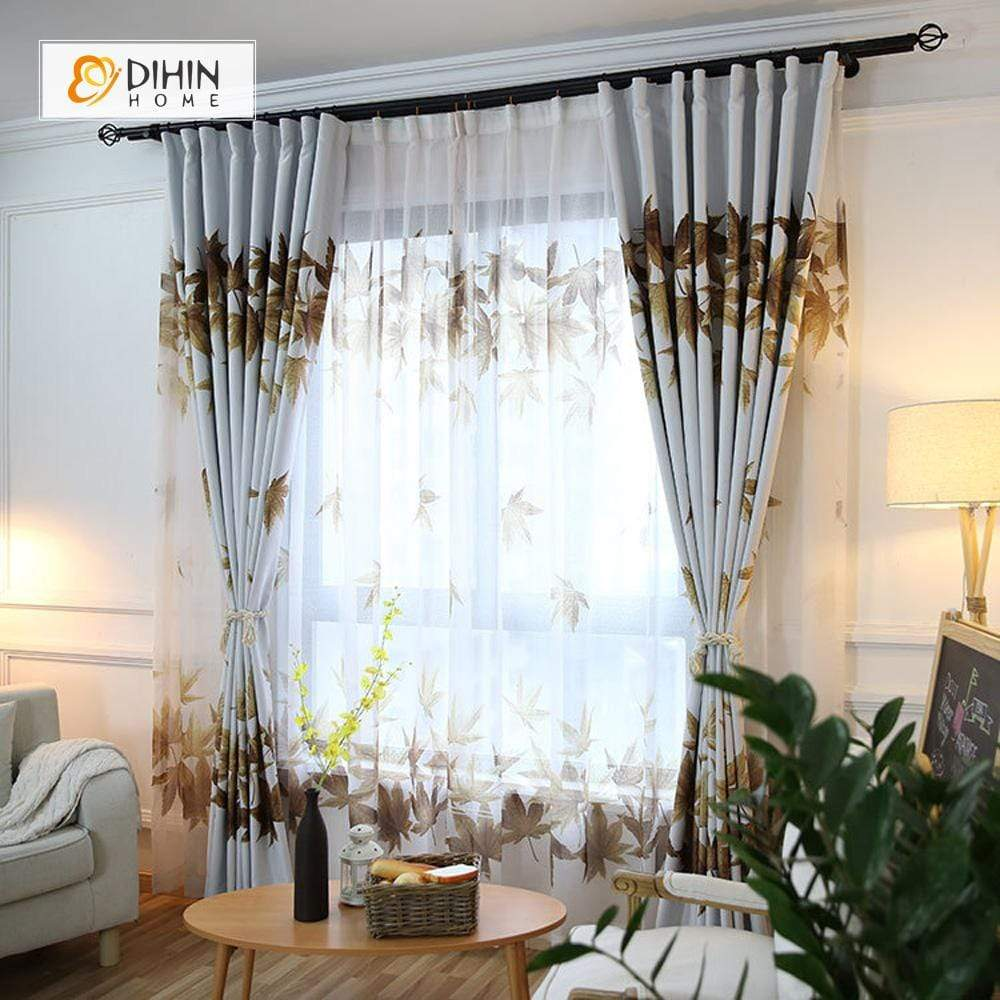 DIHINHOME Home Textile Pastoral Curtain DIHIN HOME Maple Leaves Printed,Blackout Grommet Window Curtain for Living Room ,52x63-inch,1 Panel