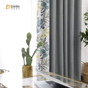 DIHINHOME Home Textile Pastoral Curtain DIHIN HOME Marginal Leaves Printed,Blackout Grommet Window Curtain for Living Room ,52x63-inch,1 Panel