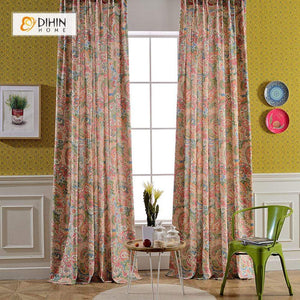 DIHINHOME Home Textile Pastoral Curtain DIHIN HOME Modern Abstract Painting Curtain ,Cotton Linen ,Blackout Grommet Window Curtain for Living Room ,52x63-inch,1 Panel