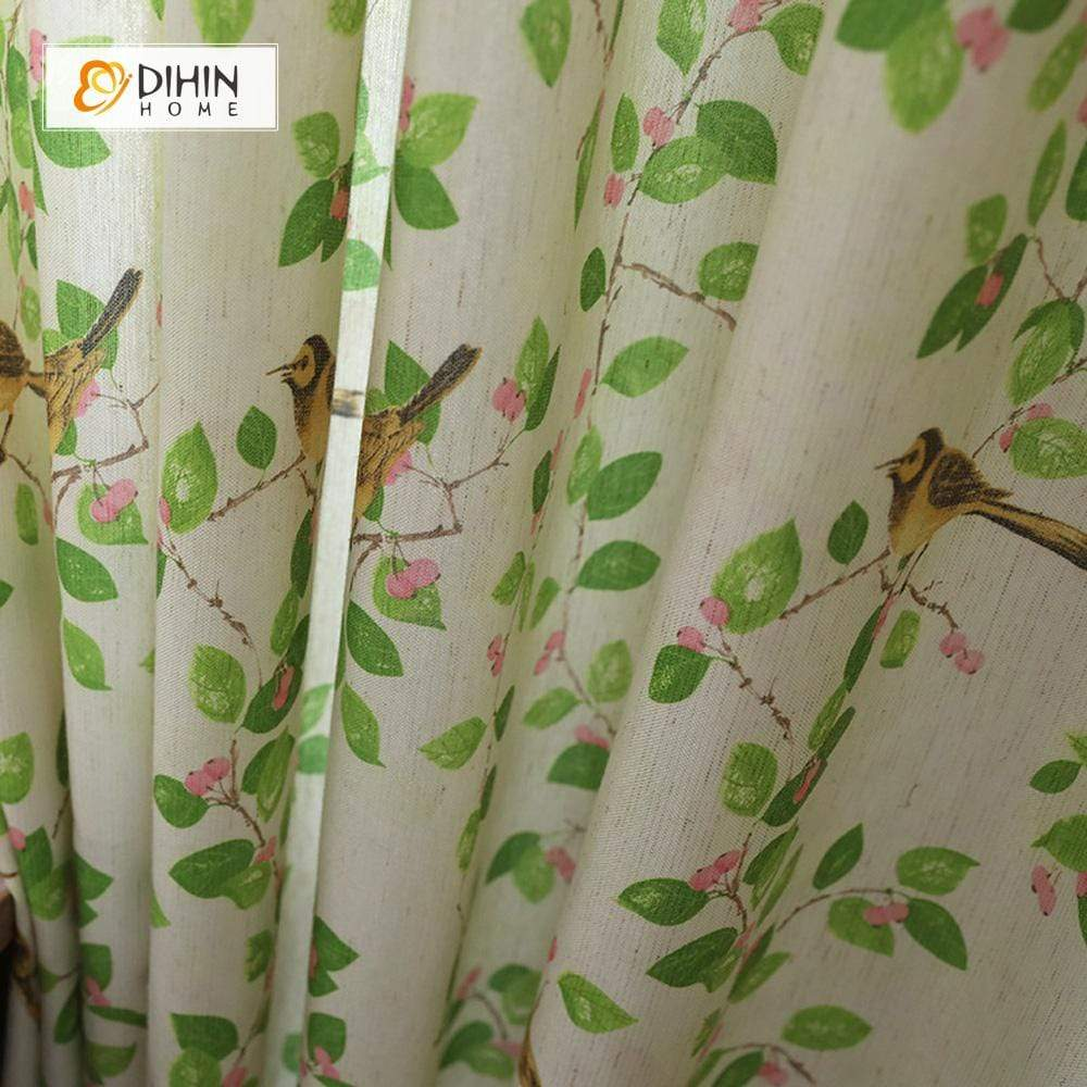 DIHINHOME Home Textile Pastoral Curtain DIHIN HOME Oriole Printed,Blackout Grommet Window Curtain for Living Room ,52x63-inch,1 Panel