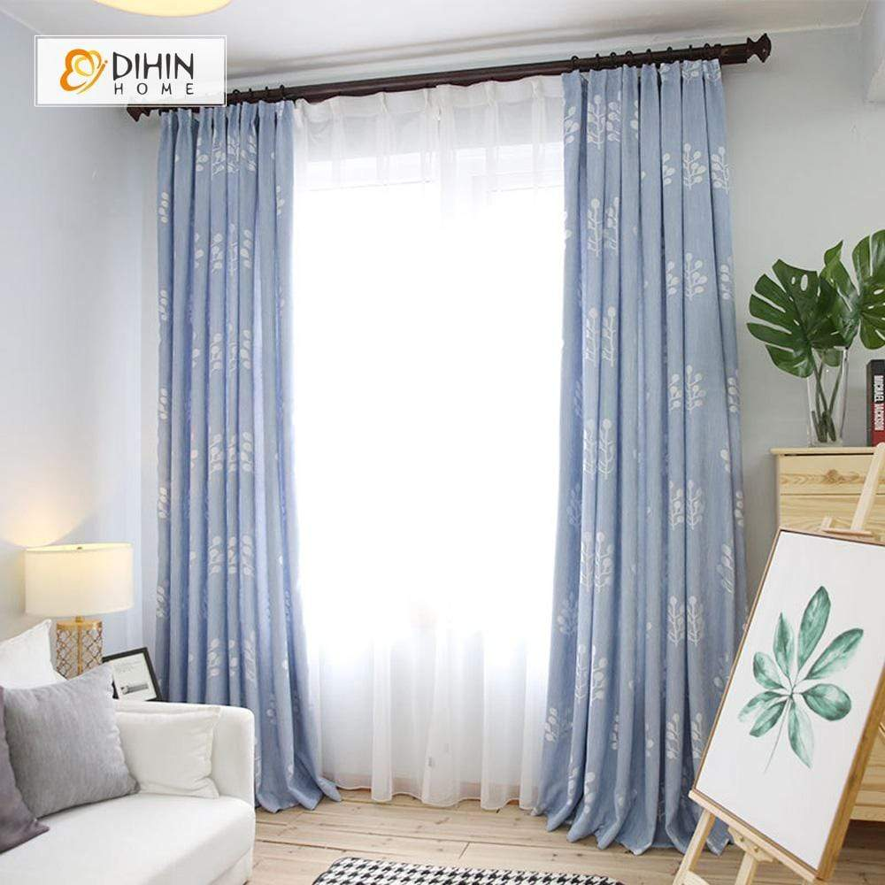 DIHINHOME Home Textile Pastoral Curtain DIHIN HOME Pale Blue Curtain,White Branch Printed,Blackout Grommet Window Curtain for Living Room ,52x63-inch,1 Panel