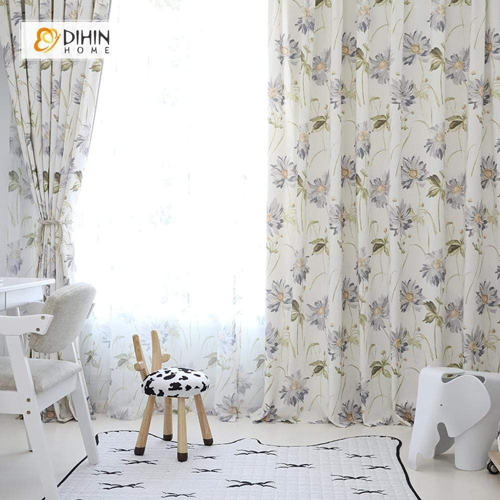 DIHINHOME Home Textile Pastoral Curtain DIHIN HOME Pale Flowers Printed ,Cotton Linen ,Blackout Grommet Window Curtain for Living Room ,52x63-inch,1 Panel