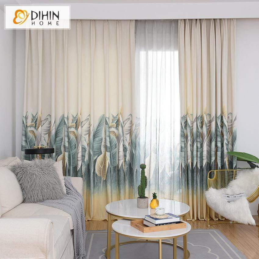 DIHIN HOME Pastoral Banana Tree Printed Curtains,Blackout Grommet Window  Curtain for Living Room ,52x63-inch,1 Panel