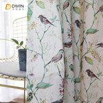 DIHINHOME Home Textile Pastoral Curtain DIHIN HOME Pastoral Bird and Flower Printed,Blackout Grommet Window Curtain for Living Room ,52x63-inch,1 Panel