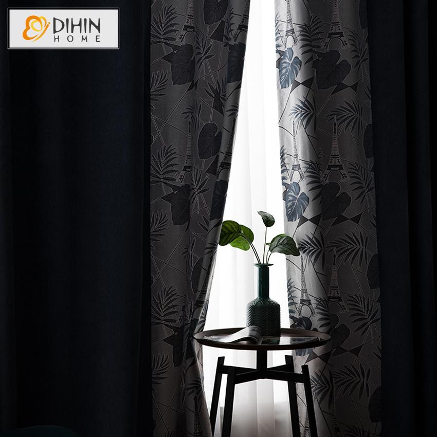 DIHINHOME Home Textile Pastoral Curtain DIHIN HOME Pastoral Blue Color Leaves Printed,Blackout Grommet Window Curtain for Living Room ,52x63-inch,1 Panel