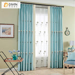 DIHINHOME Home Textile Pastoral Curtain DIHIN HOME Pastoral Cotton Linen Blue Color White Kapok Embroidered ,Blackout Grommet Window Curtain for Living Room ,52x63-inch,1 Panel