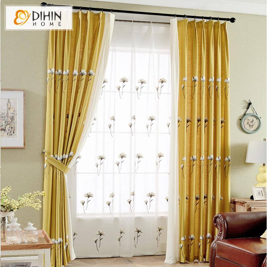 DIHINHOME Home Textile Pastoral Curtain DIHIN HOME Pastoral Cotton Linen Yellow Color White Kapok Embroidered ,Blackout Grommet Window Curtain for Living Room ,52x63-inch,1 Panel