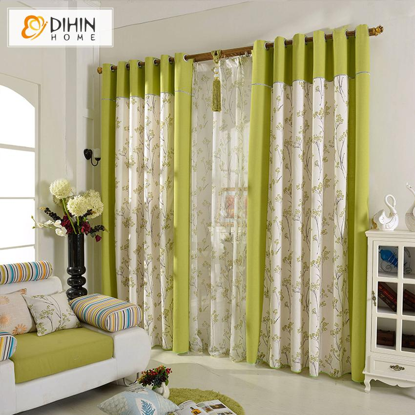 DIHINHOME Home Textile Pastoral Curtain DIHIN HOME Pastoral Green Color Natural Plants Printed,Blackout Grommet Window Curtain for Living Room ,52x63-inch,1 Panel