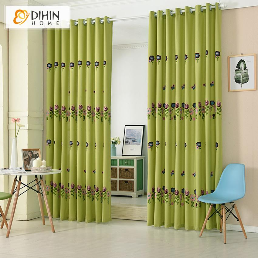 DIHINHOME Home Textile Pastoral Curtain DIHIN HOME Pastoral Green Flowers Embroidered,Blackout Grommet Window Curtain for Living Room ,52x63-inch,1 Panel