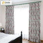 DIHINHOME Home Textile Pastoral Curtain DIHIN HOME Pastoral High-precision Pink Flowers Printed,Blackout Grommet Window Curtain for Living Room ,52x63-inch,1 Panel