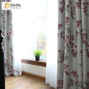 DIHIN HOME Pastoral High-precision Pink Flowers Printed,Blackout Grommet Window Curtain for Living Room ,52x63-inch,1 Panel