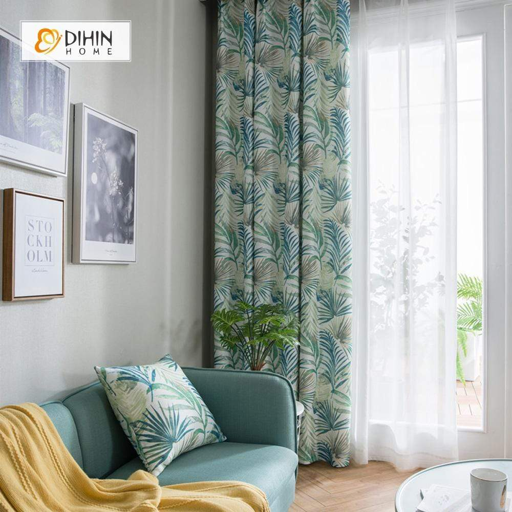 DIHINHOME Home Textile Pastoral Curtain DIHIN HOME Pastoral Leaves Printed,Blackout Grommet Window Curtain for Living Room ,52x63-inch,1 Panel