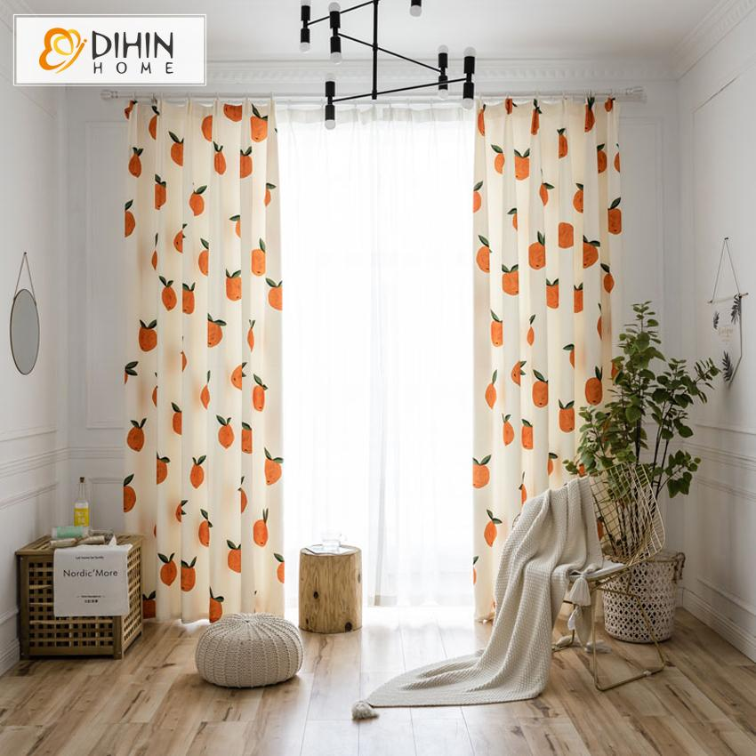 DIHINHOME Home Textile Pastoral Curtain DIHIN HOME Pastoral Natural Fruits Printed,Blackout Grommet Window Curtain for Living Room ,52x63-inch,1 Panel