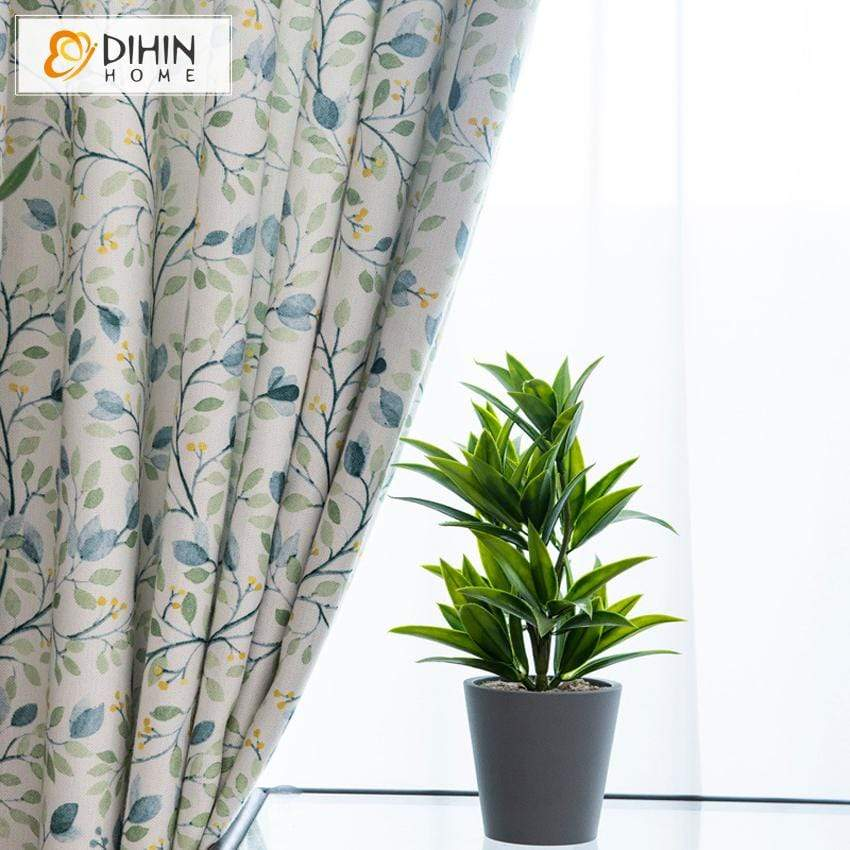 DIHIN HOME Pastoral Printed Curtains ,Blackout Grommet Window Curtain for  Living Room ,52x63-inch,1 Panel