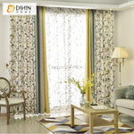DIHINHOME Home Textile Pastoral Curtain DIHIN HOME Pastoral Tree and Bird Printed,Blackout Grommet Window Curtain for Living Room ,52x63-inch,1 Panel