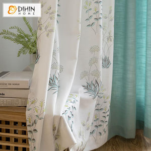 DIHINHOME Home Textile Pastoral Curtain DIHIN HOME Pastoral Water Grass Printed,Blackout Grommet Window Curtain for Living Room ,52x63-inch,1 Panel