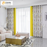 DIHINHOME Home Textile Pastoral Curtain DIHIN HOME Pastoral Yellow Fabric Nice Flowers Printed,Blackout Grommet Window Curtain for Living Room ,52x63-inch,1 Panel