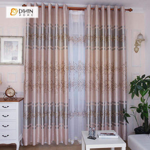 DIHINHOME Home Textile Pastoral Curtain DIHIN HOME Pink Crowd Flowers Printed,Blackout Grommet Window Curtain for Living Room ,52x63-inch,1 Panel